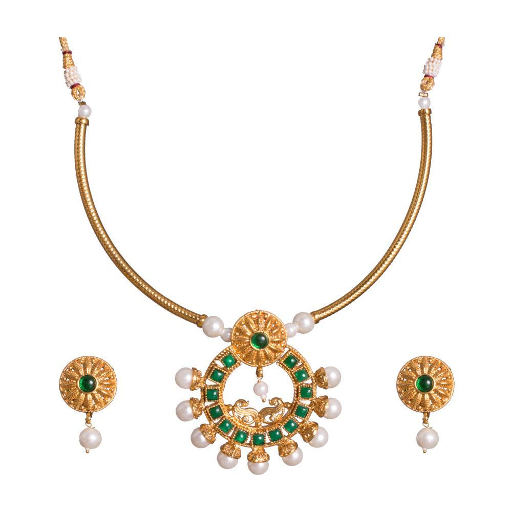 Green Beaded Grace Gold Plated set