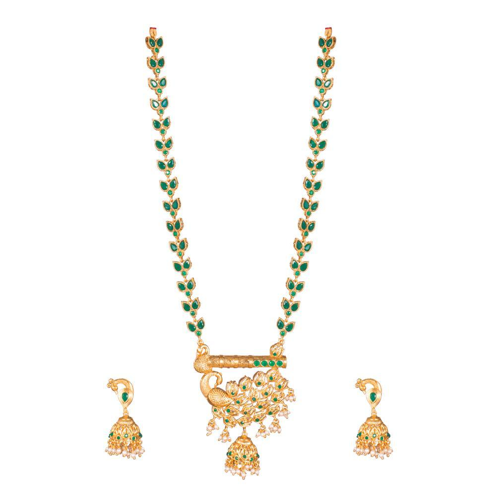 Emerald Finesse Necklace set for Rs.Rs. 1000.00 | Antique Jewellery by Prashanti Sarees