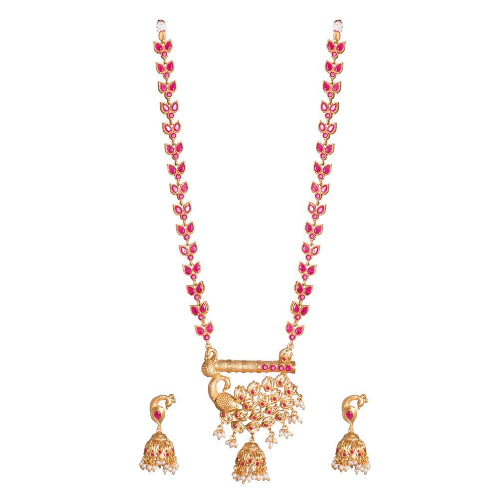 Red Ruby beaded Peacock Necklace set