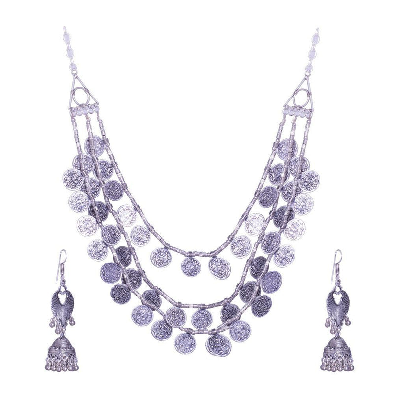 Dangle silver necklace set