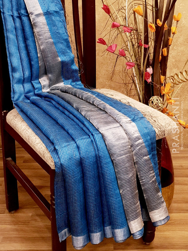 Pure Matka saree cs blue with allover silver zari checks and border for Rs.Rs. 7290.00 | by Prashanti Sarees