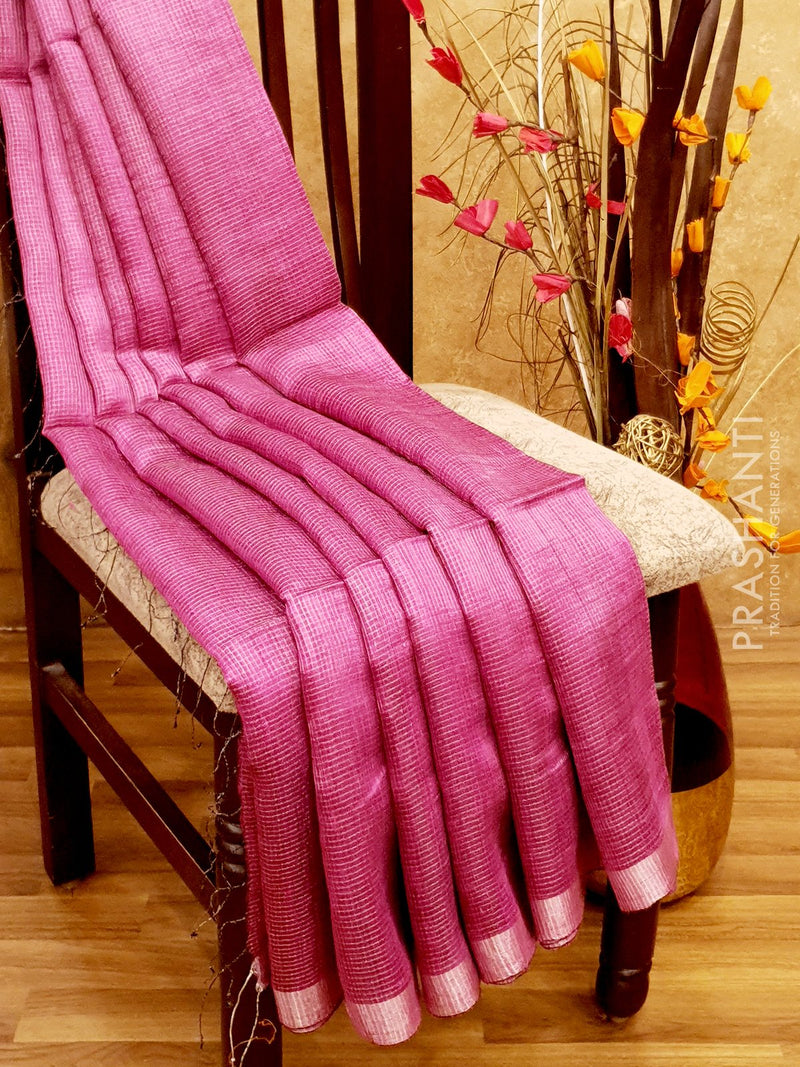 Pure Matka saree pink with allover silver zari checks and border