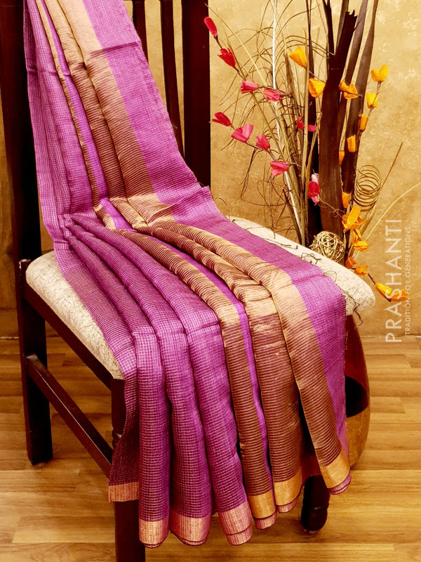 Pure Matka saree purple with allover golden zari checks and border