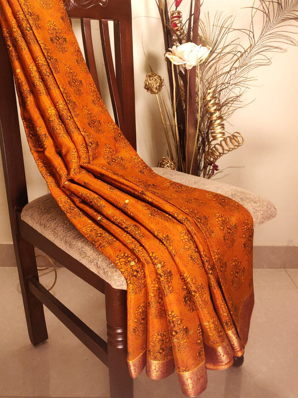 Mysore crepe silk saree brown with floral prints