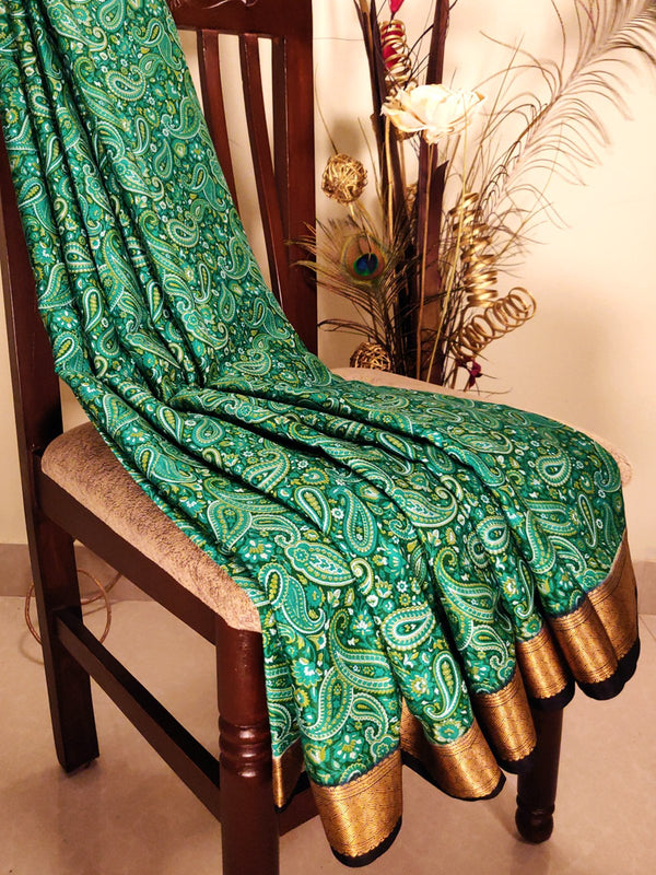 Mysore crepe silk saree green and black with floral prints