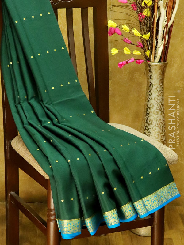 Mysore Crepe Silk Saree bottle green and blue with temple and mango zari border and body buttas