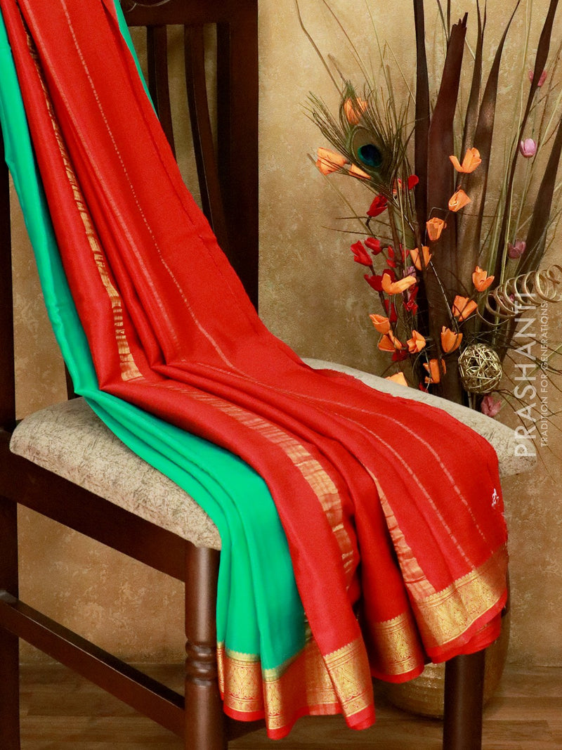 Mysore Crepe Silk Saree teal and red with rich zari border