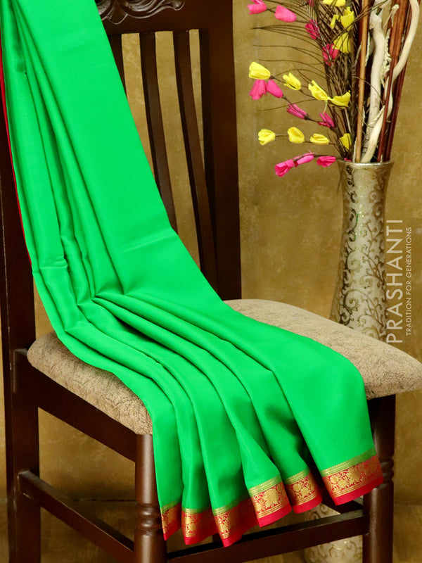 Mysore Crepe Silk Saree green and pink with floral zari border