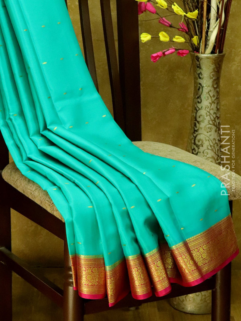 Mysore Crepe Silk Saree teal and pink with golden zari buttas and floral border