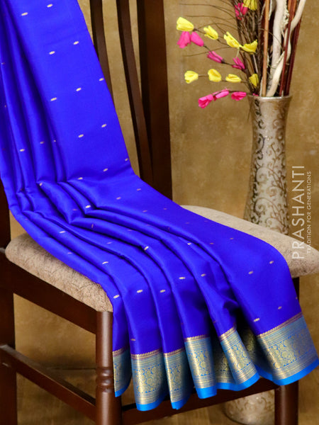 Mysore Crepe Silk Saree blue and cs blue with golden zari buttas and floral border
