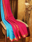 Mysore Crepe Silk Saree blue and pink with allover self emboss and golden zari border