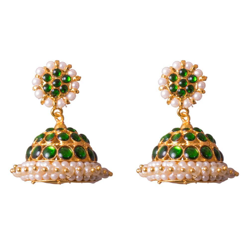 Green pearl kemp stone earrings for Rs.Rs. 250.00 | Jhumkas by Prashanti Sarees
