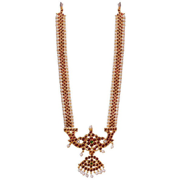 Intricate Red Kemp Stone Bharatnatyam Necklace