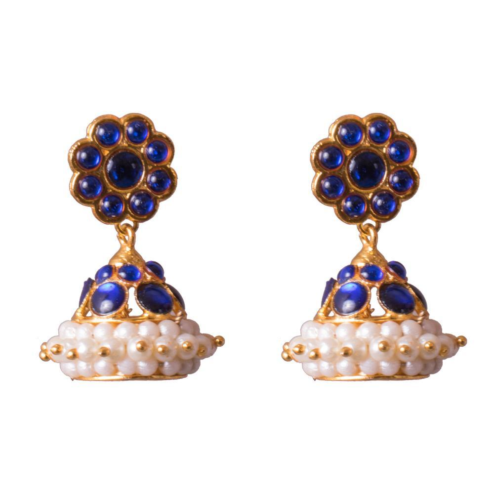 Blue Kemp Stone Traditional Jhumka Earrings for Rs.Rs. 200.00 | Jhumkas by Prashanti Sarees