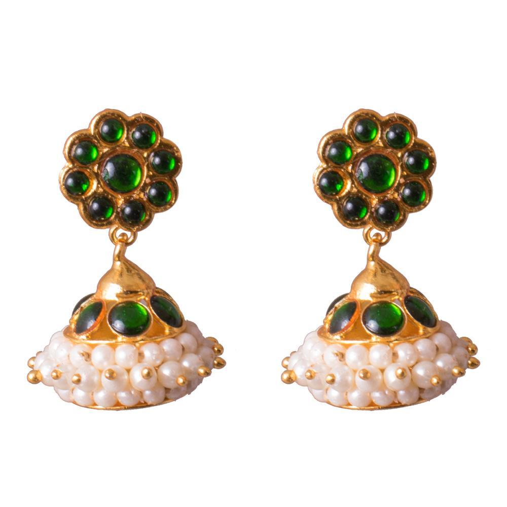 Delicate kemp earrings for Rs.Rs. 200.00 | Jhumkas by Prashanti Sarees