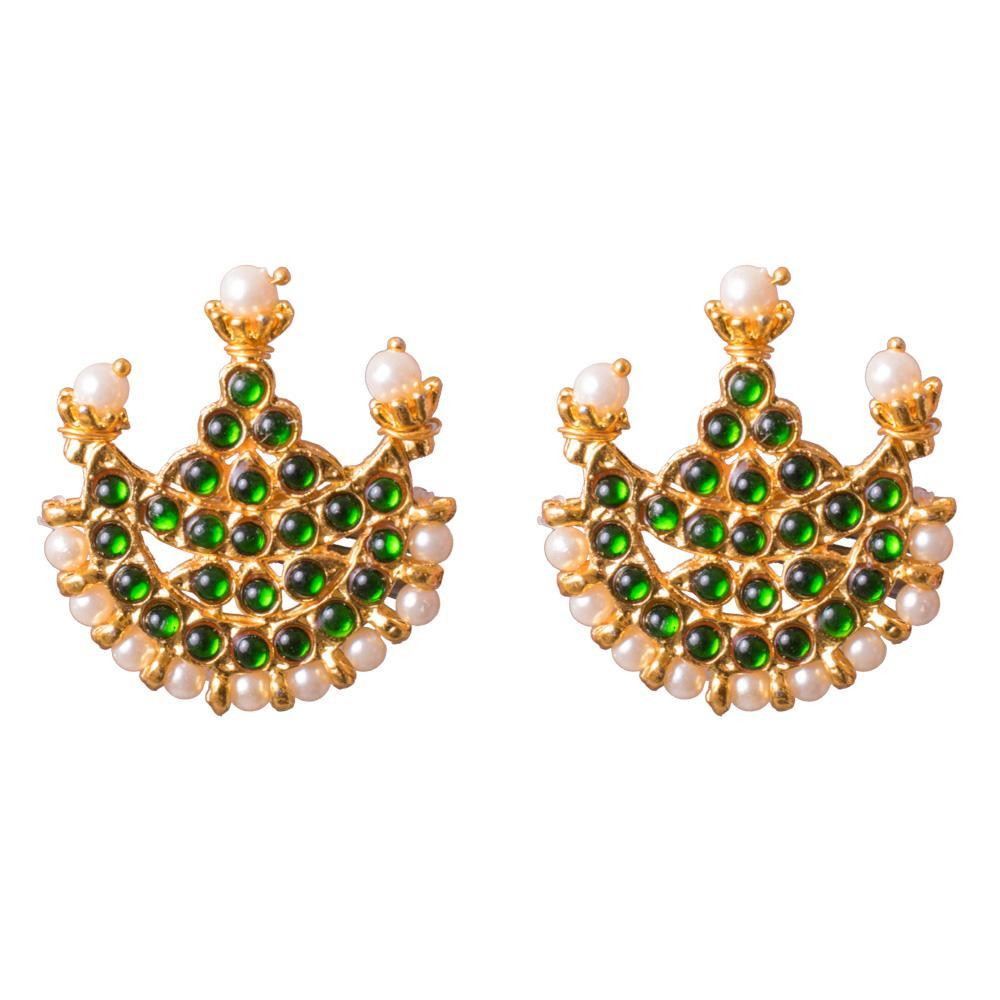 Green embellished gold plated earrings