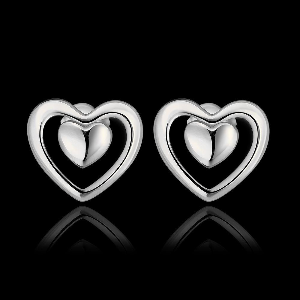 Heart and Heart Earrings- Silver - mystic collections