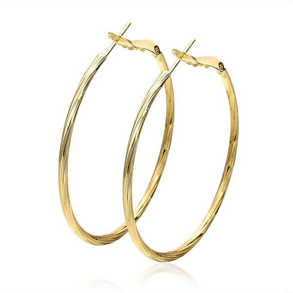 Gold Plated Elegant Hoop Earrings
