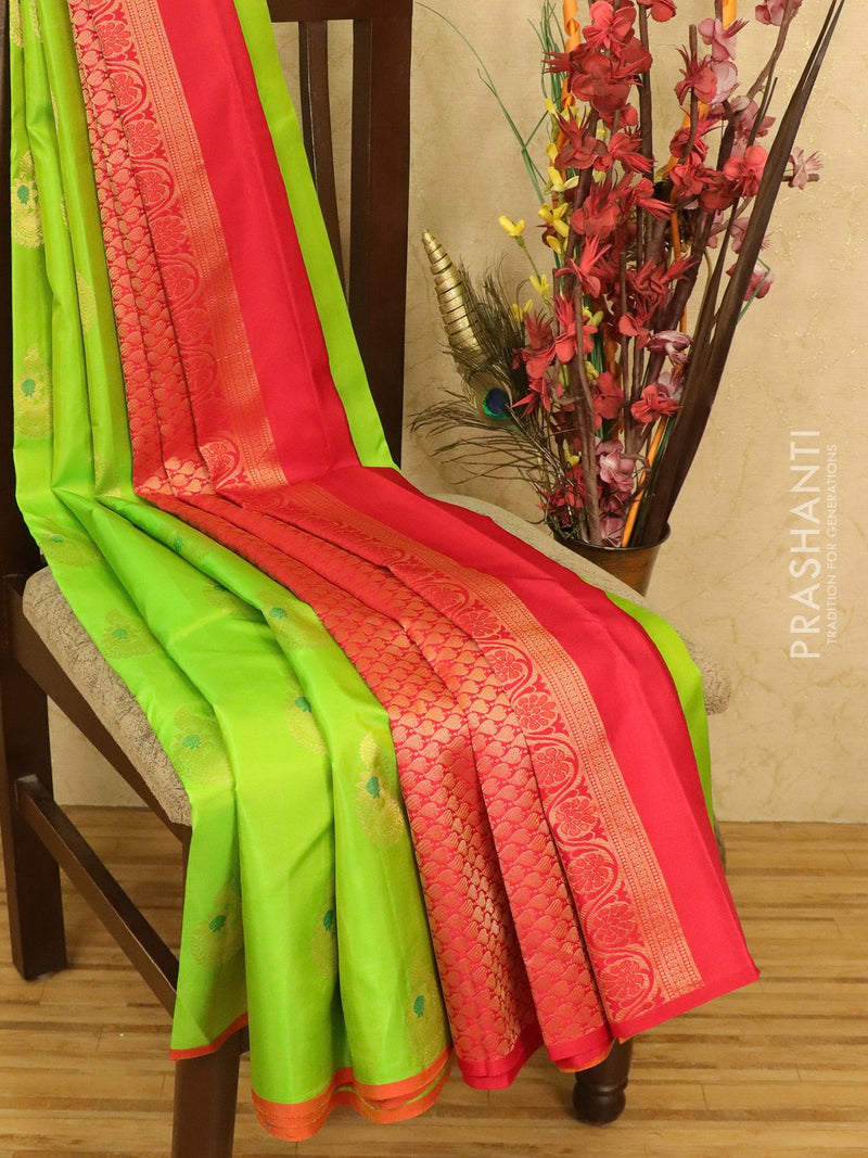 Pure Kanchivaram Silk saree green and red with body buttas and piping border