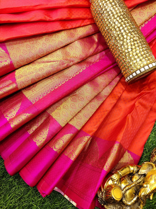 Pure Kanchivaram Silk saree dual shade of orangish pink with self emboss and zari woven border