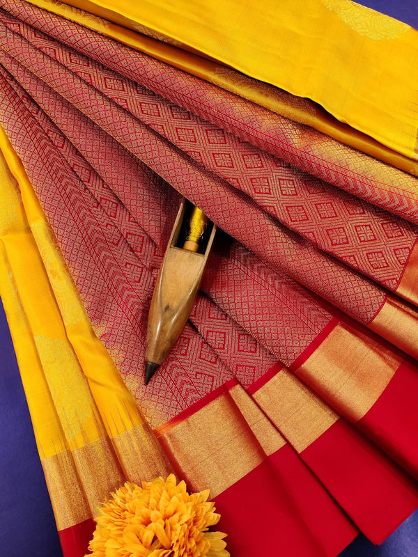 Pure Kanchivaram Silk saree yellow and red with zari woven buttas and simple border