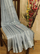 Pure linen saree grey with plain body and zari border
