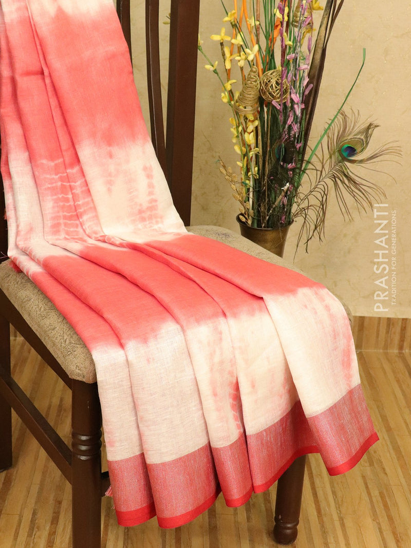 Pure linen saree red shade with tie and dye prints