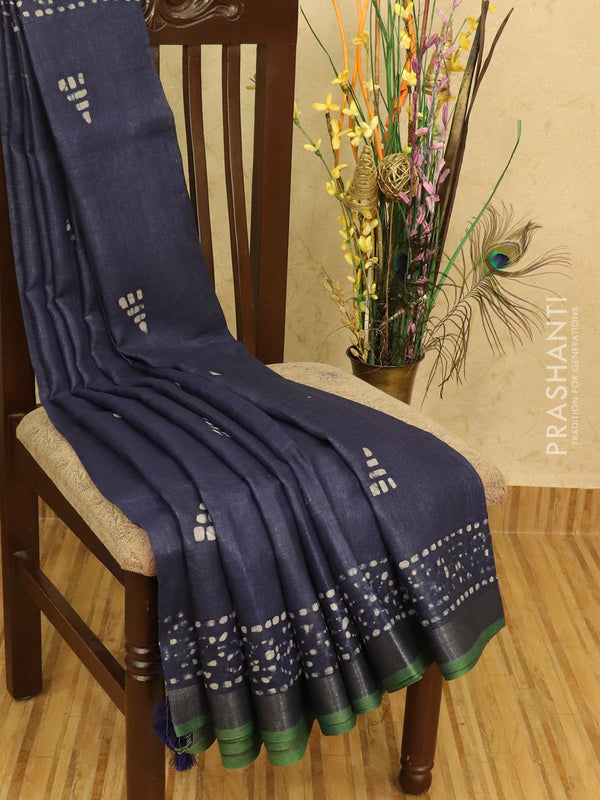 Pure linen saree dark blue and green with batik prints and zari border