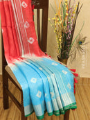 Pure linen saree light blue and red with tie and dye prints in zari border