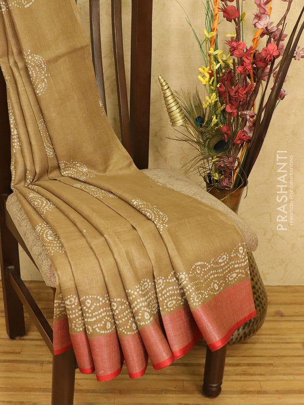 Pure linen saree chikoo with batik prints and simple border