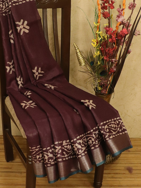 Pure linen saree coffee brown with batik prints and zari border for Rs.Rs. 2490.00 | by Prashanti Sarees