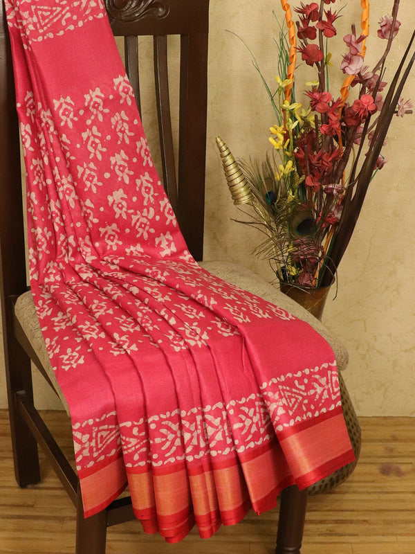 Pure linen saree pink with batik prints and zari border