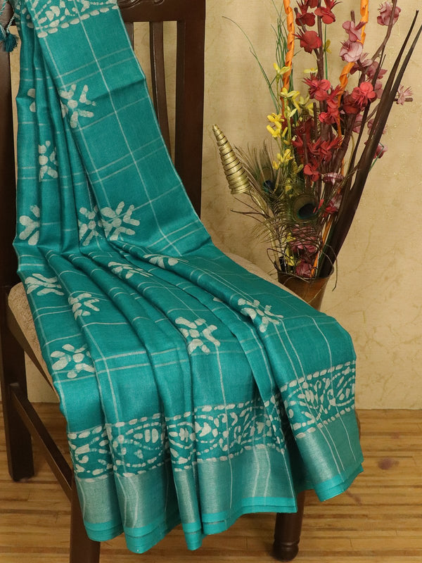 Pure linen saree peacock green with zari checks and zari border