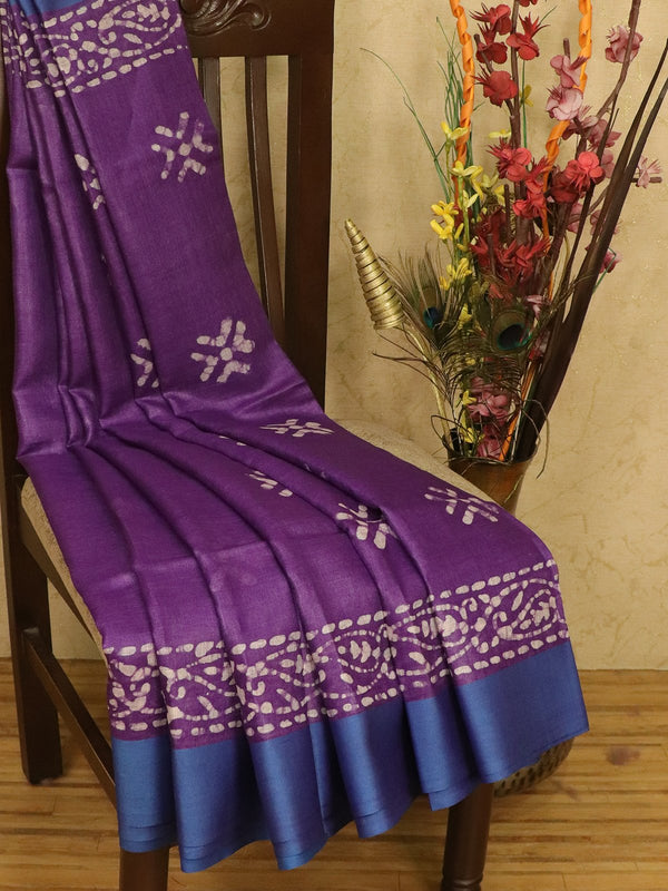 Pure linen saree violet with batik prints and simple border