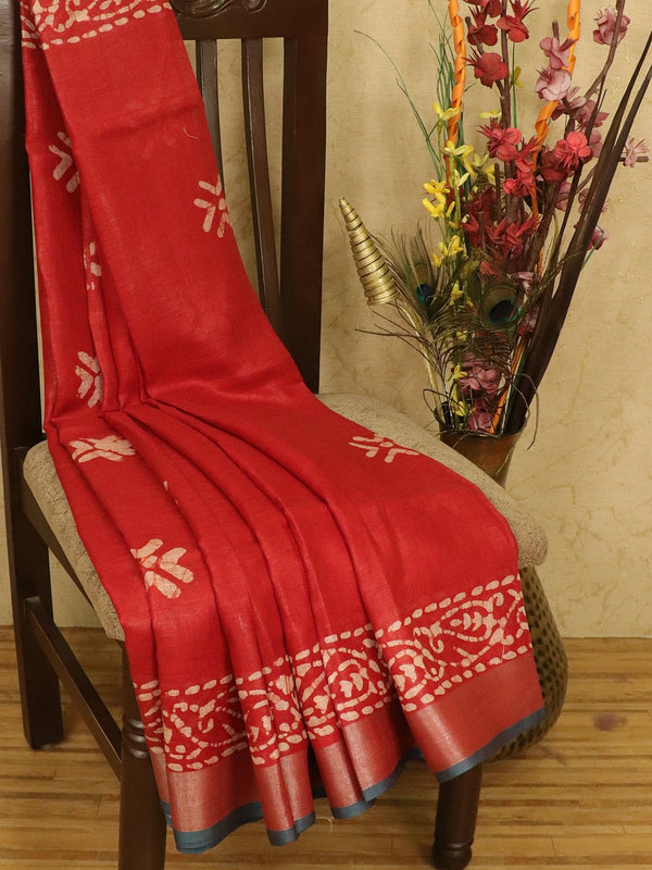 Pure linen saree red with batik prints and zari border
