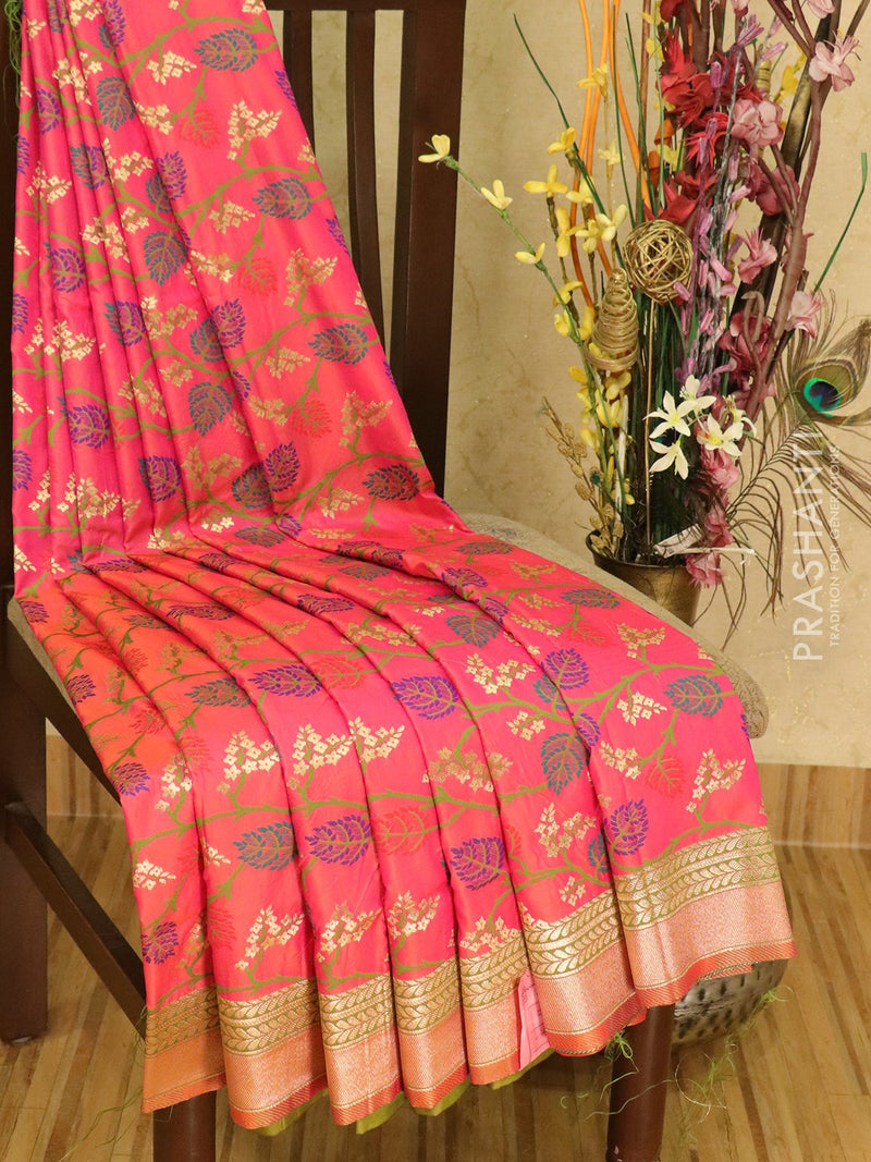Balucheri semi silk saree pink and green with allover floral weaves
