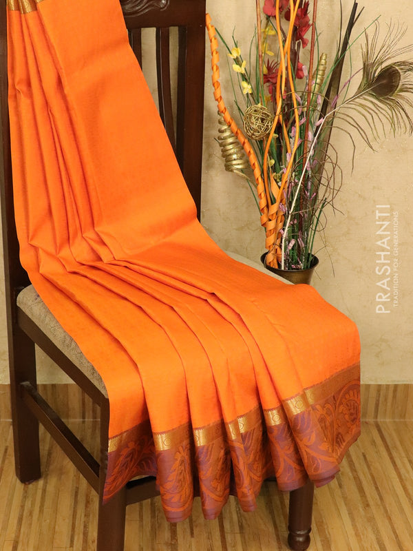 Roopam Silk sarees orange and peacock blue with allover self emboss and and thread woven zari border