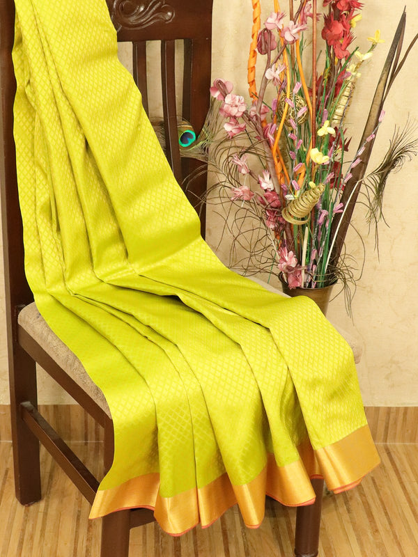 Roopam Silk sarees lime green and pink with allover self emboss and zari border