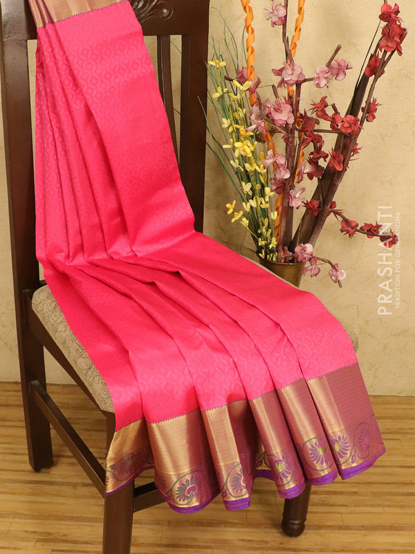 Roopam Silk sarees pink and blue with allover self emboss and rich zari woven border