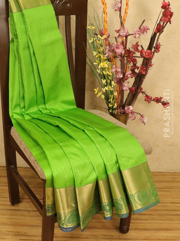 Roopam Silk sarees green and blue with allover self emboss and rich zari woven border