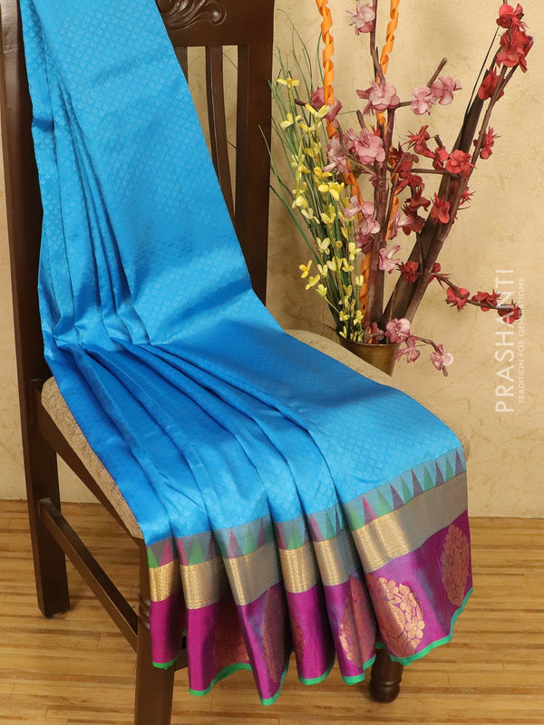 Roopam Silk sarees blue and pink with allover self emboss and zari butta border