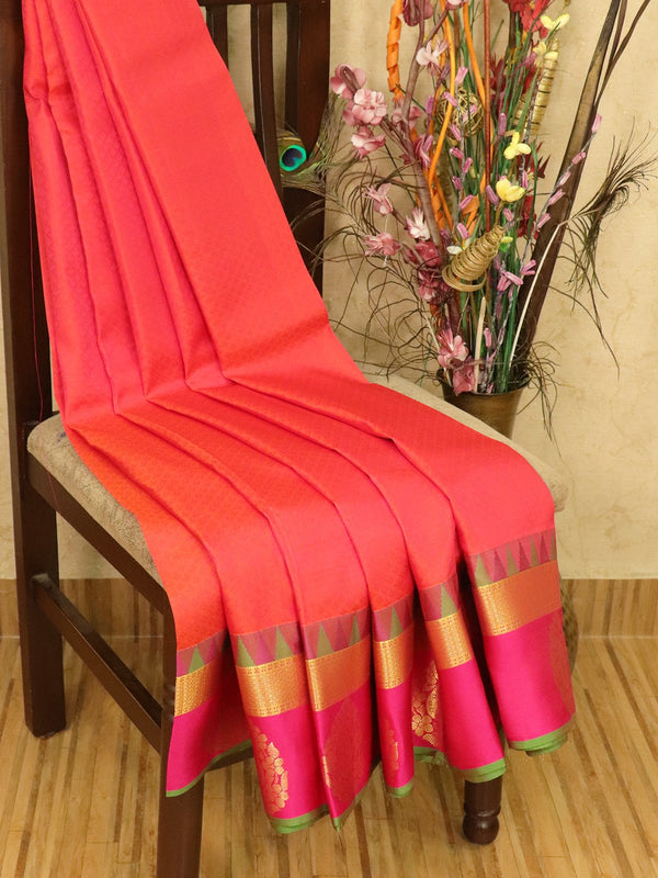 Roopam Silk sarees dual shade of orange and pink with allover self emboss and zari butta border