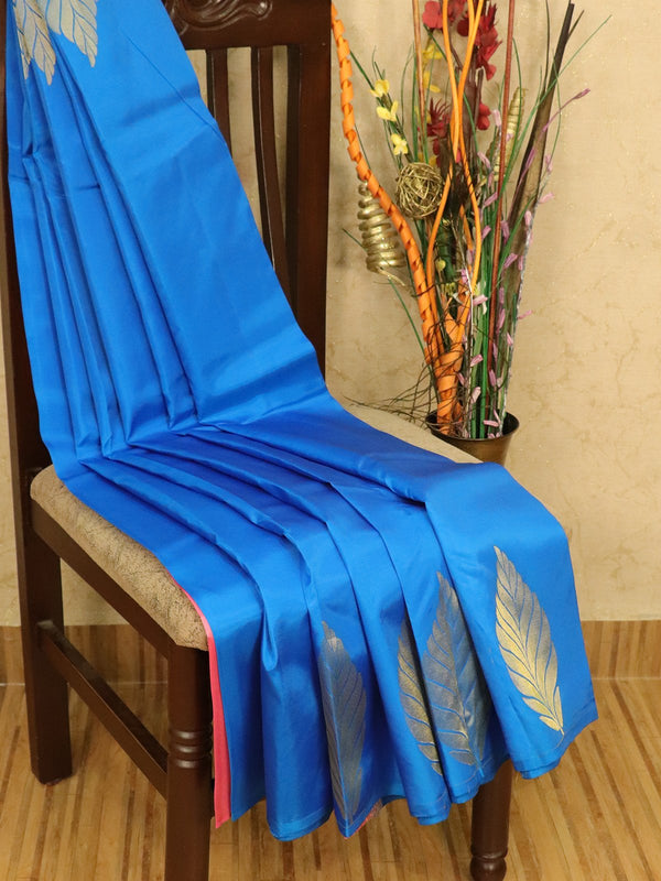Roopam Silk sarees blue and pink with plain body and zari butta border