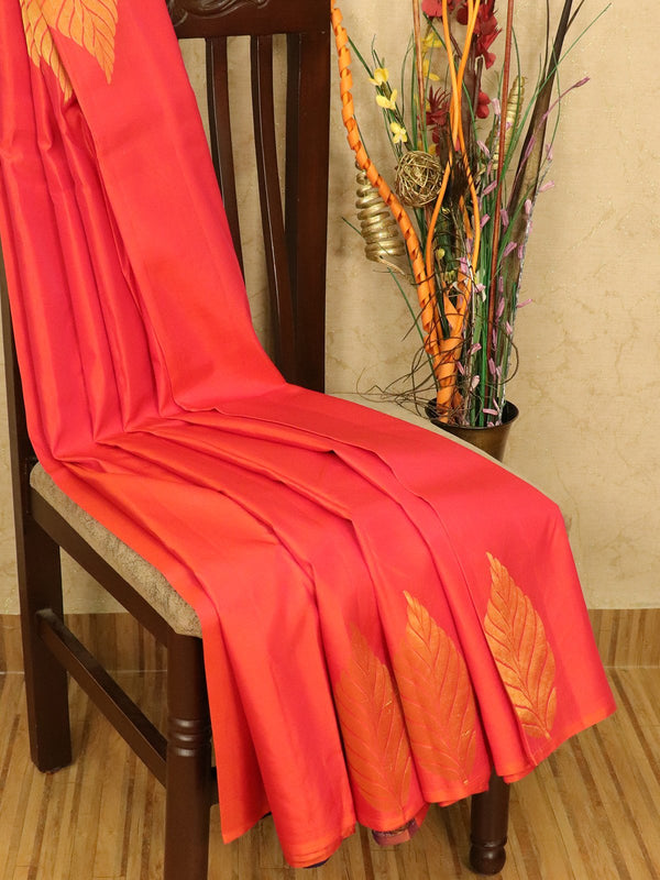 Roopam Silk sarees dual shade of orangish pink and navy blue with plain body and zari butta border