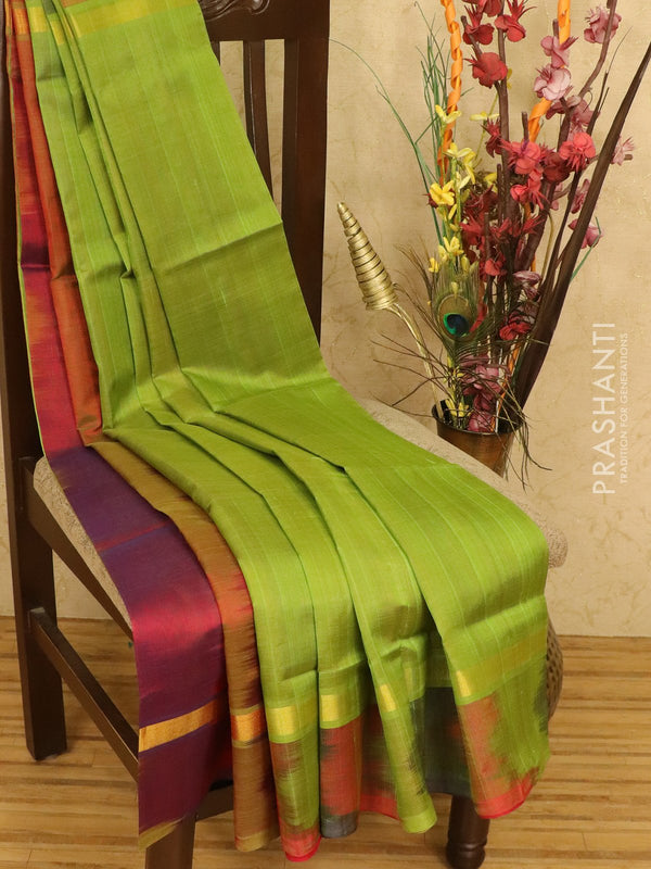 Silk cotton partly saree green and dual shade of maroon with simple zari border