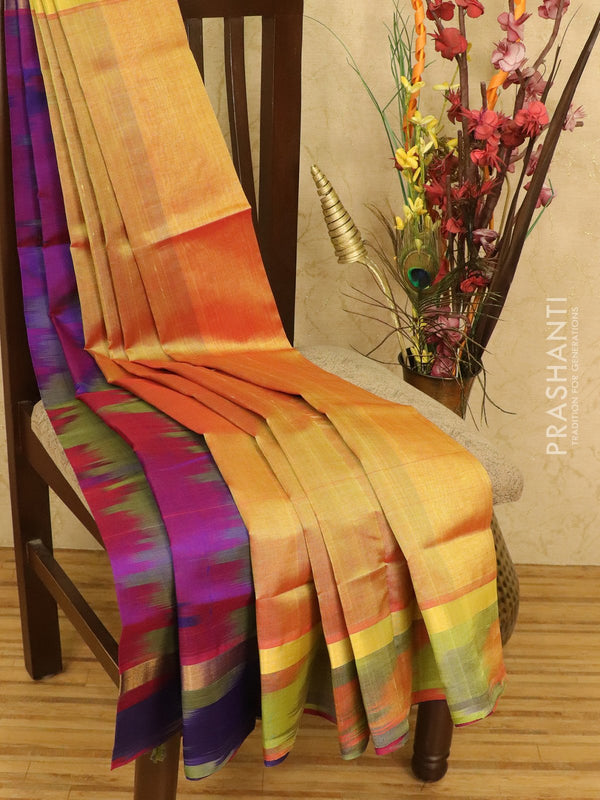 Silk cotton partly saree dual shade of mustard and red with rich zari woven border