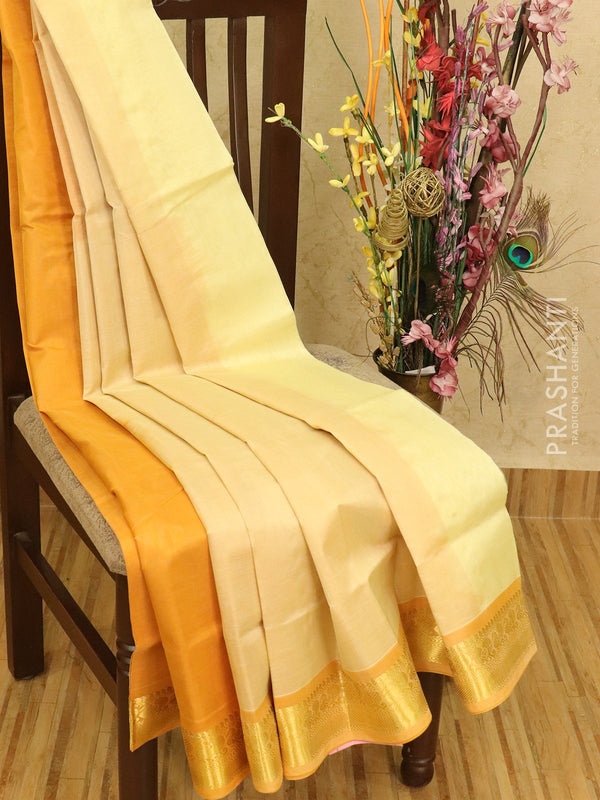 Silk cotton partly saree off white and mustard yellow with zari woven border