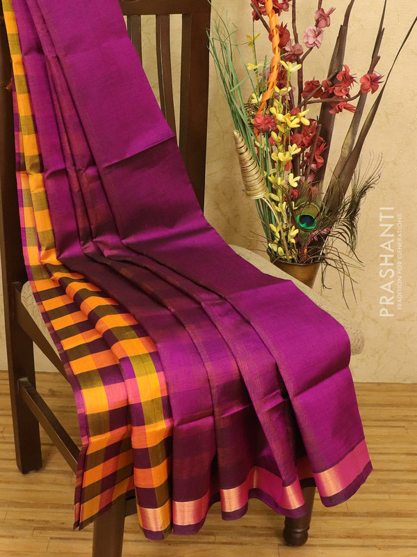 Silk cotton partly saree mango yellow and purple checked pattern with zari woven border