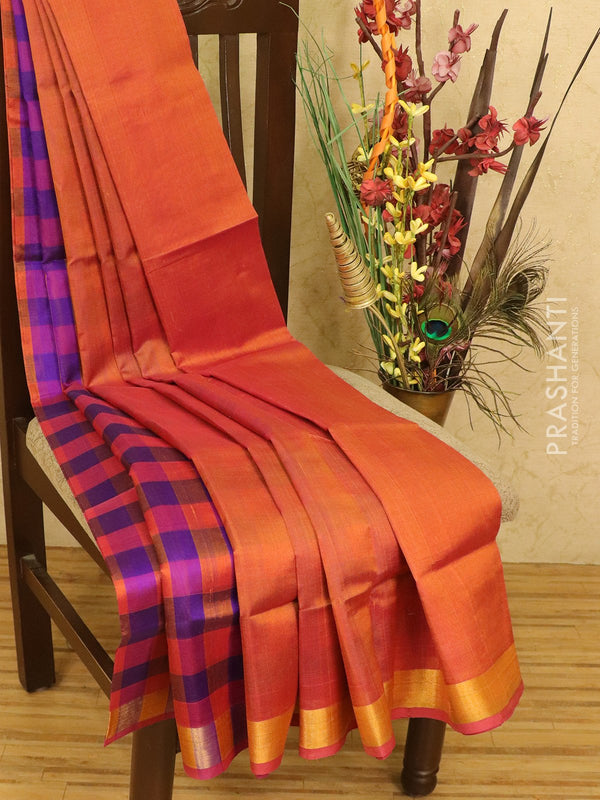Silk cotton partly saree rust and violet with checked pallu and simple zari border for Rs.Rs. 2690.00 | by Prashanti Sarees