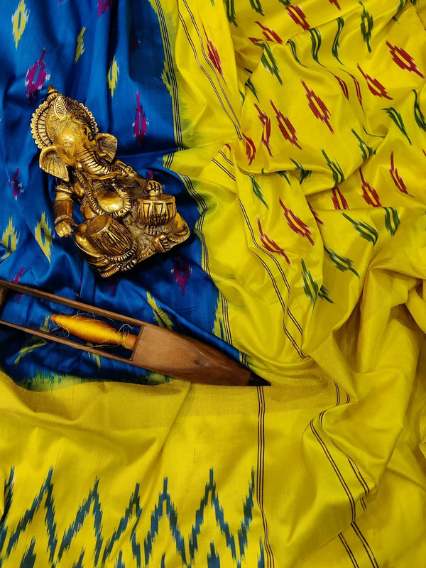 Pochampally silk saree blue and yellow with ikat weaves and zari woven ikat border